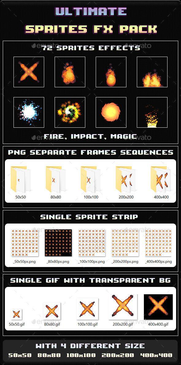 Ultimate Sprites FX Pack Pixel art games, Game assets