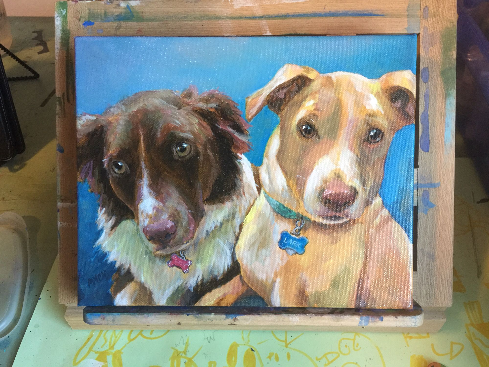 9x12 Pet Portrait Two Dogs Painted Together Dog Art Acrylic On