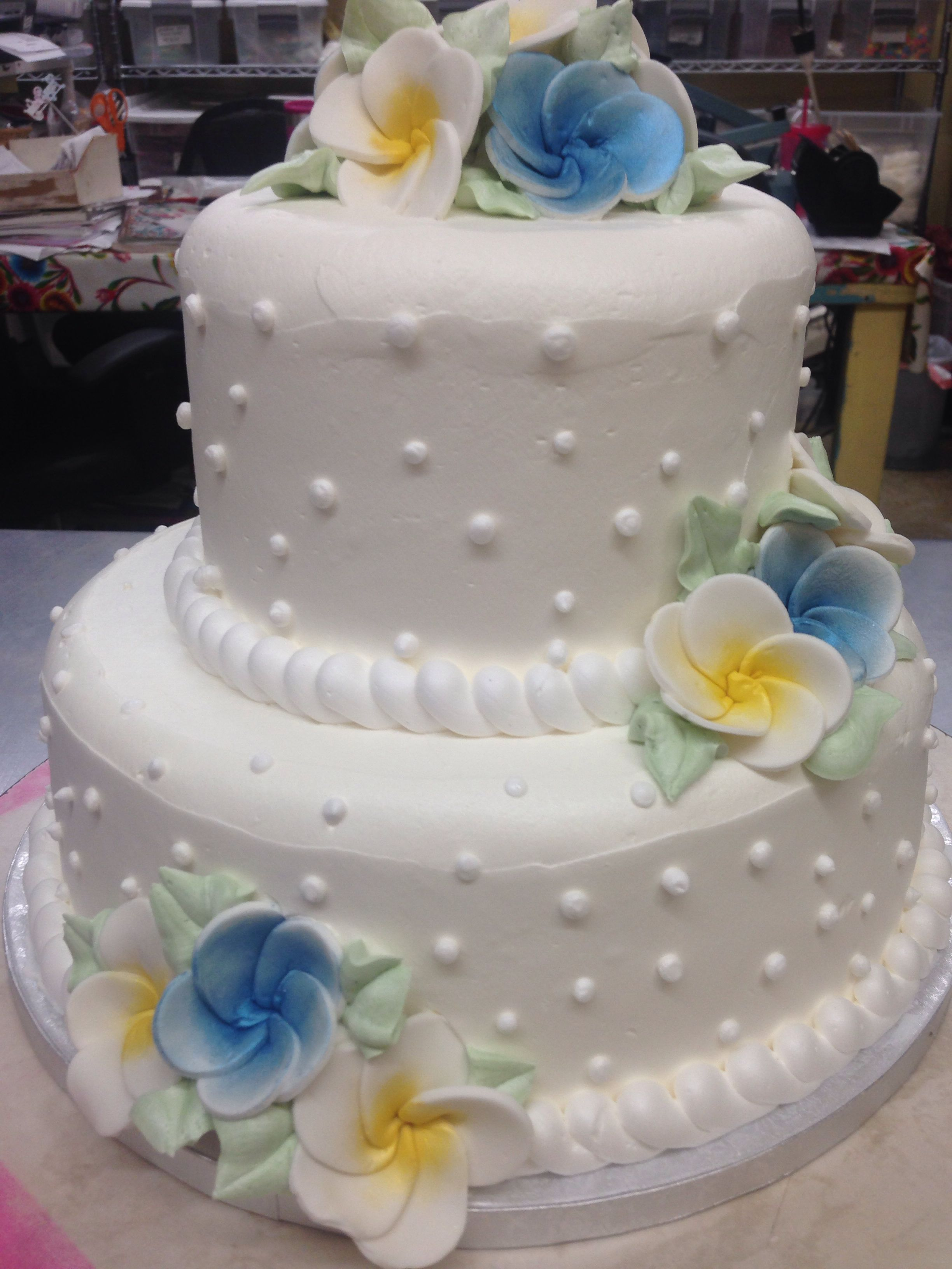 A Two Tier Wedding Cake Perfect For A Hawaiian Themed Wedding