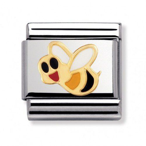 Nomination Composable Classic Air Animals Bee Stainless Steel, Enamel and 18K Gold