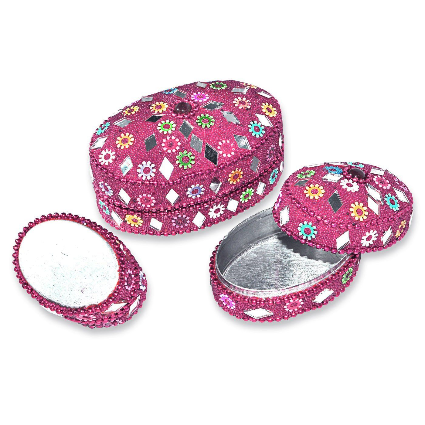 Decorative Boxes Uk Pink Oval Shape Jewelry Box Set Of 3 Amazoncouk Kitchen & Home