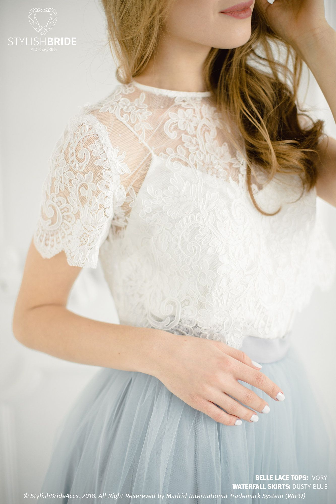 Belle Wedding Lace Crop Top White Or Ivory Lace Crop Top Etsy Lace Crop Tops Lace Dress Long Bridesmaid Skirts [ 2000 x 1333 Pixel ]