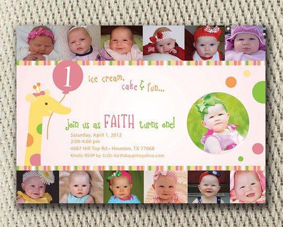 Baby Girl Polka Dot Giraffe 1st Birthday Collage Party Invite ...