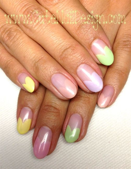 Colorful Pastel Heart French Nails by CuteNailDesigns via ...