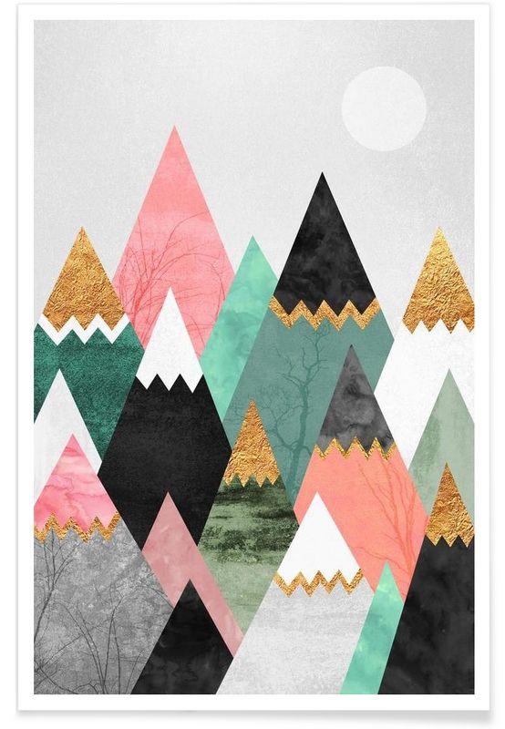 Pretty mountains als premium poster von elisabeth fredriksson juniqe art dessinen ligneaffichesjolie dessindessine moideco muraledéco