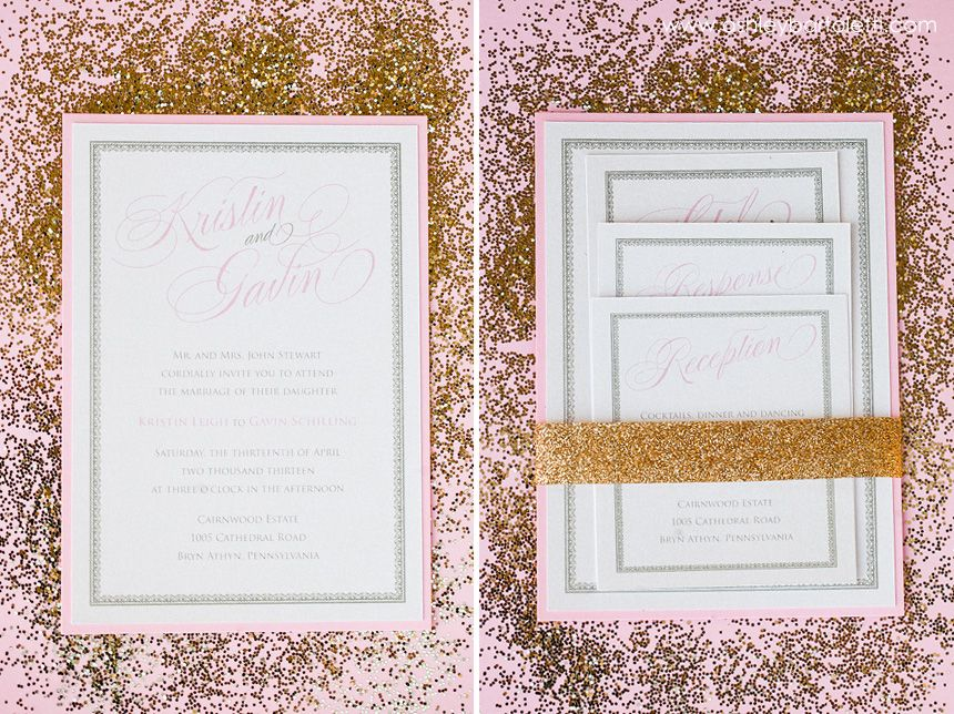 17 Best images about April Lynn Designs Custom Wedding – Gold and Pink Wedding Invitations