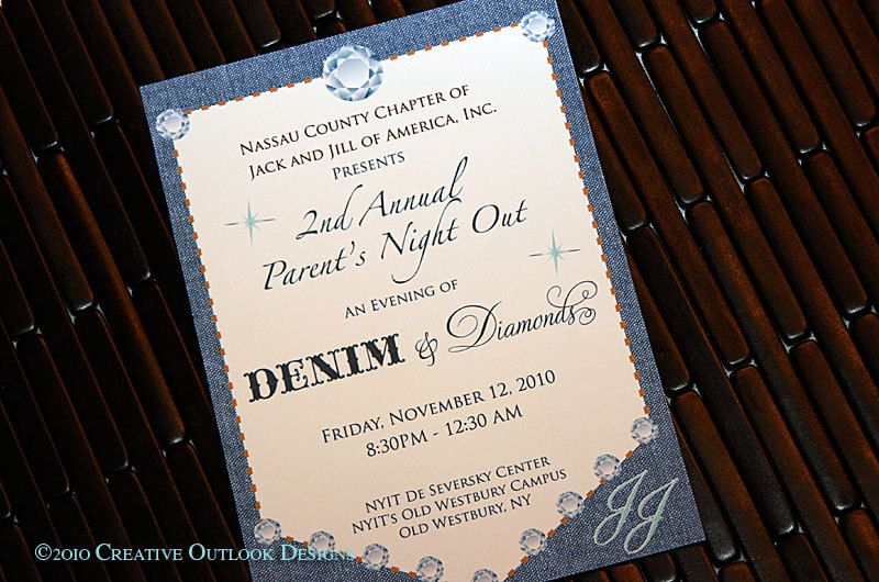 Denim Wedding Invitations: Blue Denim & Diamonds Theme Bling Invitation