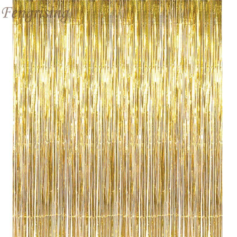 5x Metallic Tinsel Shimmer Foil Door Curtains Wedding Birthday Party Decoration