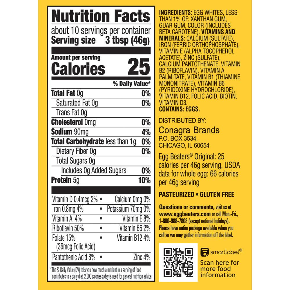 Egg Beaters Nutritional Label In 2021 Egg Beaters Nutrition Real Eggs
