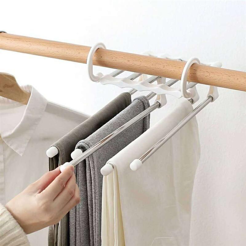 Best Hanger Creative 5 In 1 Useful Practical Magic Pants Rack Clothes Jeans Hook Clothes Hanger Hook Jean Pants Rack Trouser Hangers Hanger
