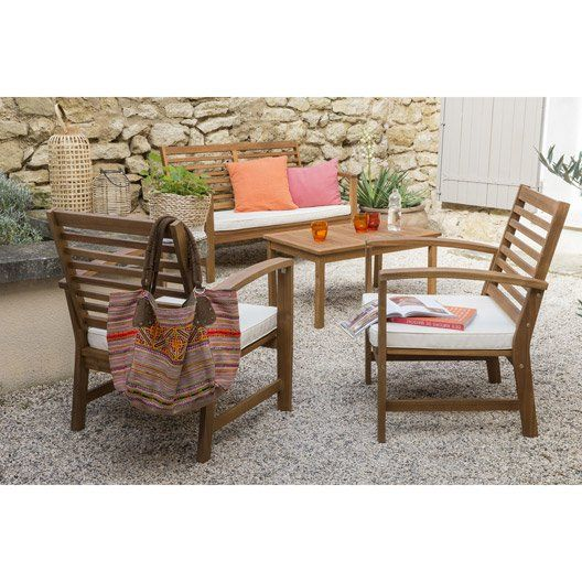 Salon bas de jardin Acacia bois marron 1 table, 1 banc 2 chaises ...