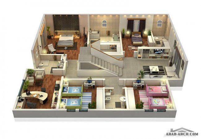 مخطط رائع لفيلا تصميم خليجى مميزة 3d غرف نوم 4 2 غرف نوم ماستر 20x40 House Plans House Design Small Room Design