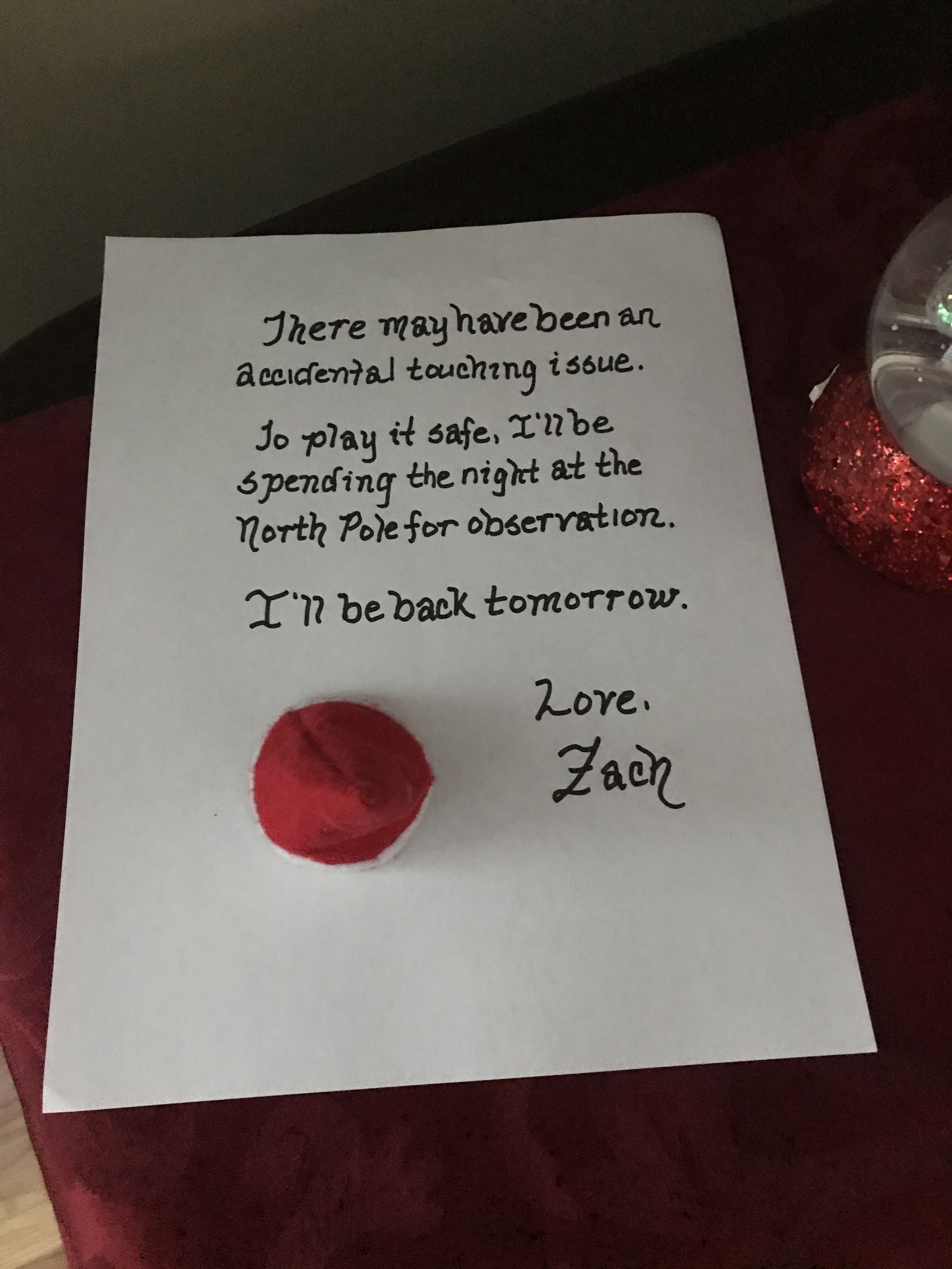 In 5 years, we have never had an incident, but apparently... there was one last night. Can't confirm with 100% certainty, but at least Zach is playing it safe!  #Zach2019 #RulesAreRules #NoTouching