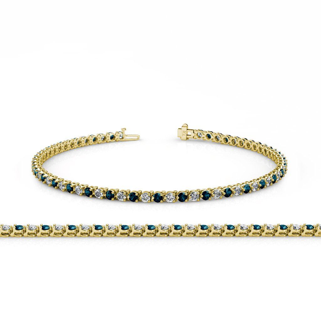 Blue and white diamond sii gh mm prong tennis bracelet