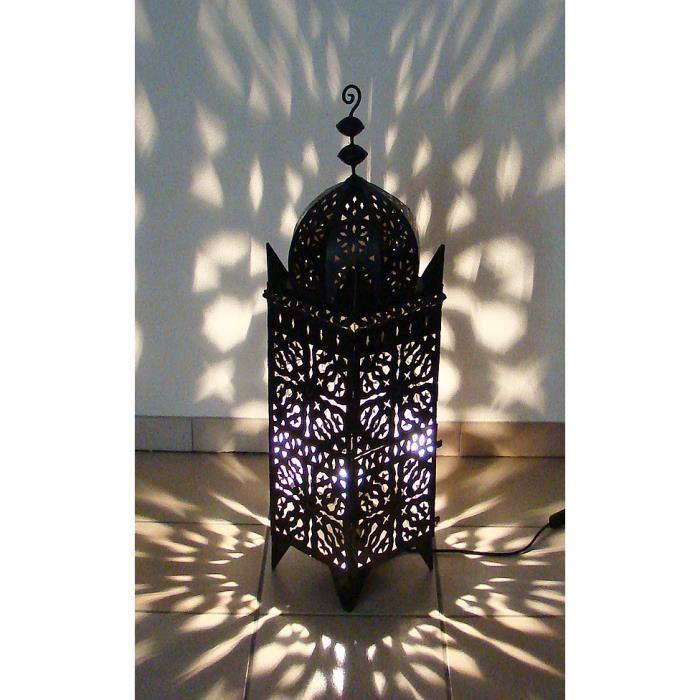 lampe orientale lampe photophore marocain lectrifi 95cm en fer forg lanterne d cor. Black Bedroom Furniture Sets. Home Design Ideas