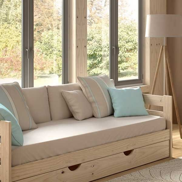 Cama sofá madera pulida- Estructura | Dormitorio, Blog y Camas