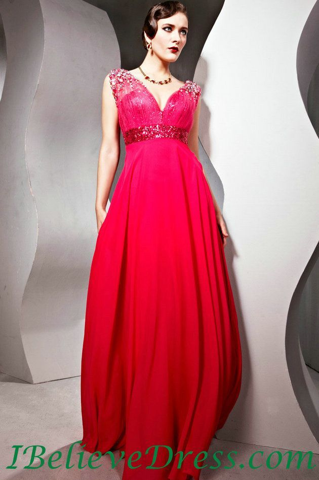 Long red evening dress sale
