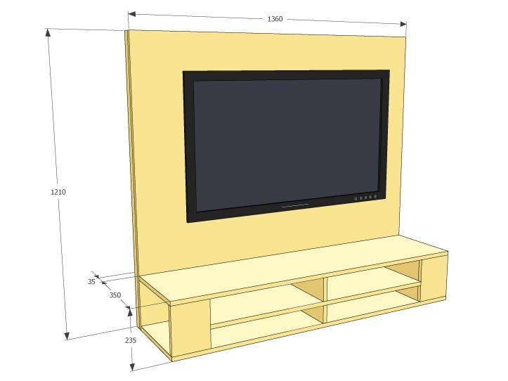 Bouwtekening TVmeubel, hangende tvkast zelf maken hout