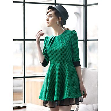 TS VINTAGE Contrast Color Swing Dress - USD $ 29.99