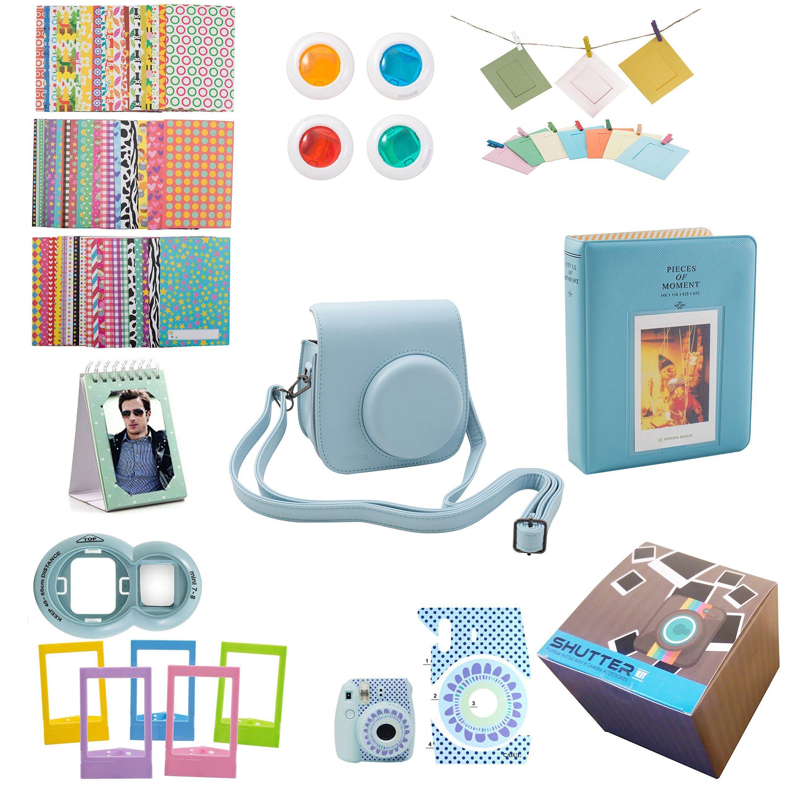 8c3b81efdddc3d 9 Piece Gift set Box Fujifilm Instax Mini 8 Accessories Bundle Mini 8 Camera  BLUE Accessories Kit Includes