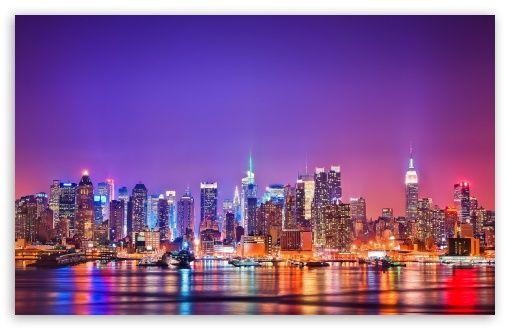 New York City Skyline At Night Hd Desktop Wallpaper High Definition Fullscreen Mobile New York City Background City Wallpaper Nyc Skyline