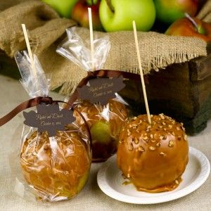 Autumn Apples Caramel apples are wrapped in clear favor bags and