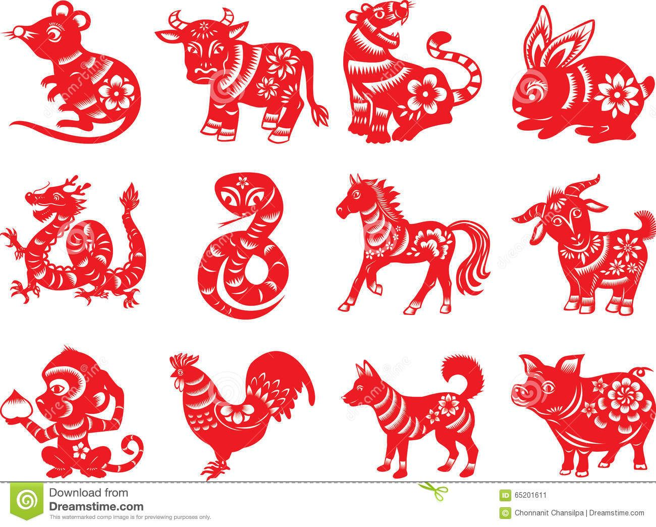 Chinese Zodiac Animal Icons Stock Photography Image