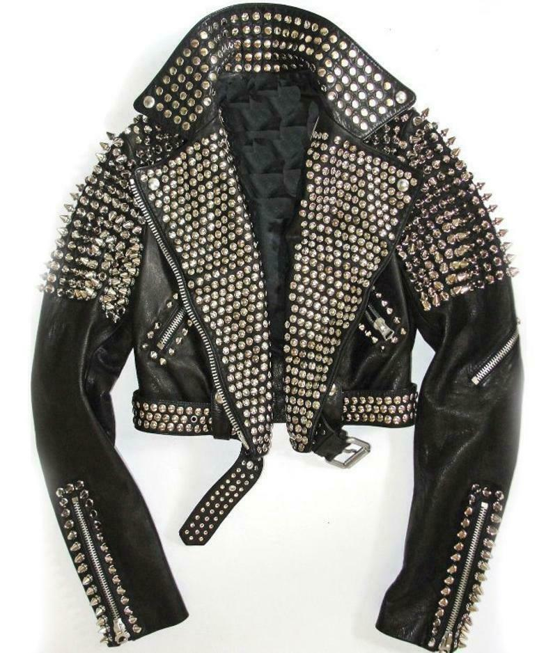 Handmade Women Black Leather Rock Women Steam Punk Style Studded Biker Jacket Ebay Fashion Leather Jacket Men Studded Leather Jacket