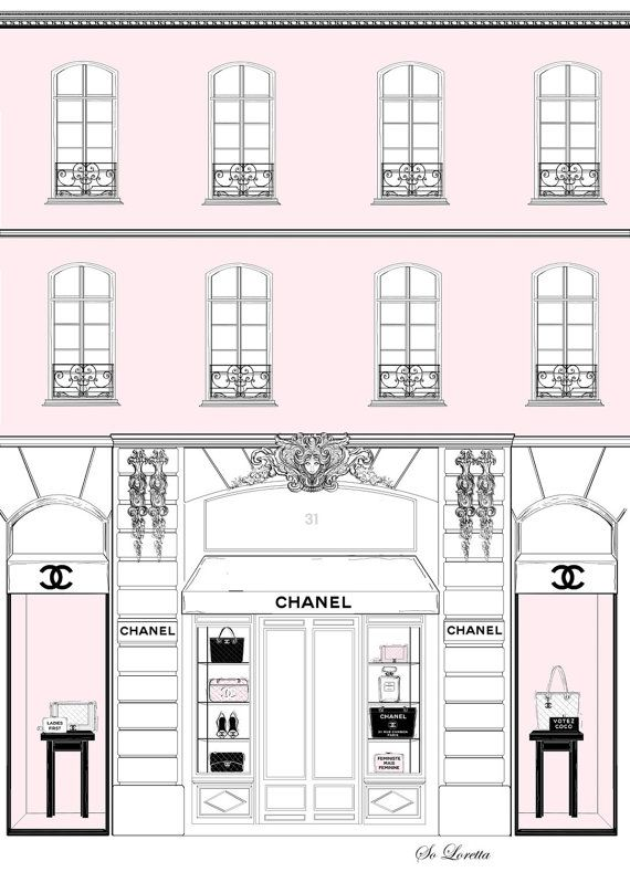 Chanel fashion print, fashion illustration, chanel quote print, pink girl wall…