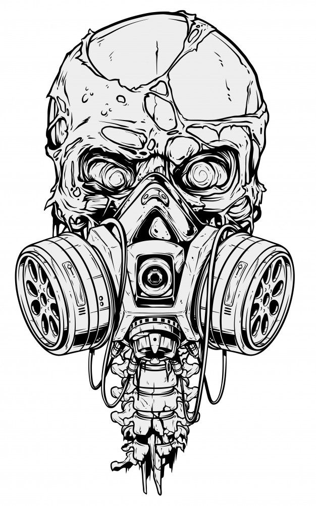 Detailed Graphic Human Skull With Gas Mask In 2020 Skull Art Drawing Gas Mask Art Skull Art Print
