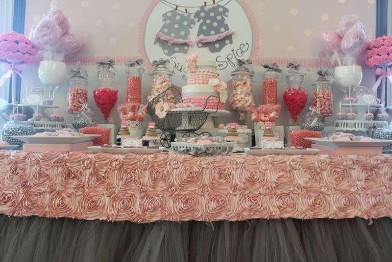 33 baby shower ideas for twins twin baby shower themes for Baby shower decoration ideas for twin girls