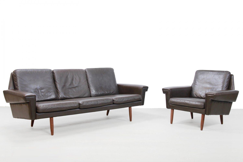 For Sale Brown Leather Danish Design Sofa Armchair From Vejen Polstermobelfabrik 1960s Danish Design Sofa Sofa Danish Design