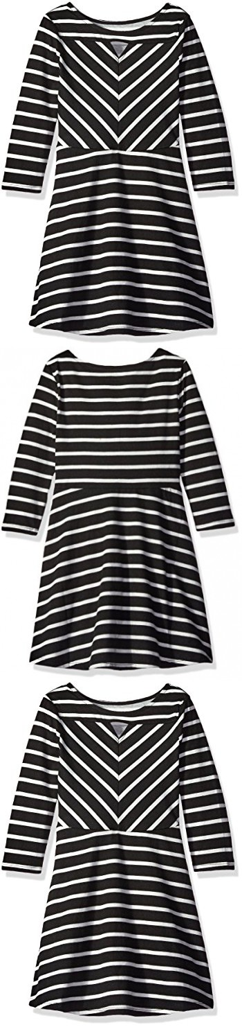The Children's Place Girls' Big Girls' Long Sleeve Skater Dress, Black, Medium/7/8