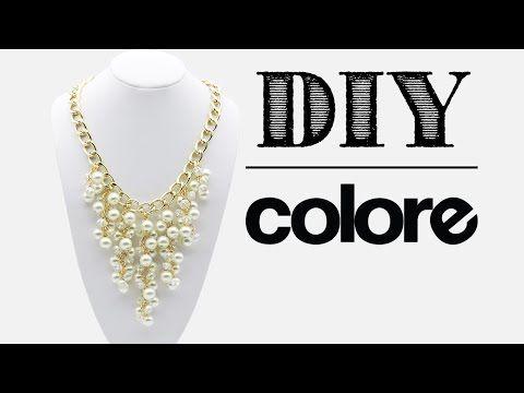 Como hacer un Collar de Perla, Cristal y Cadena Dorada: Pekas Creaciones - YouTube