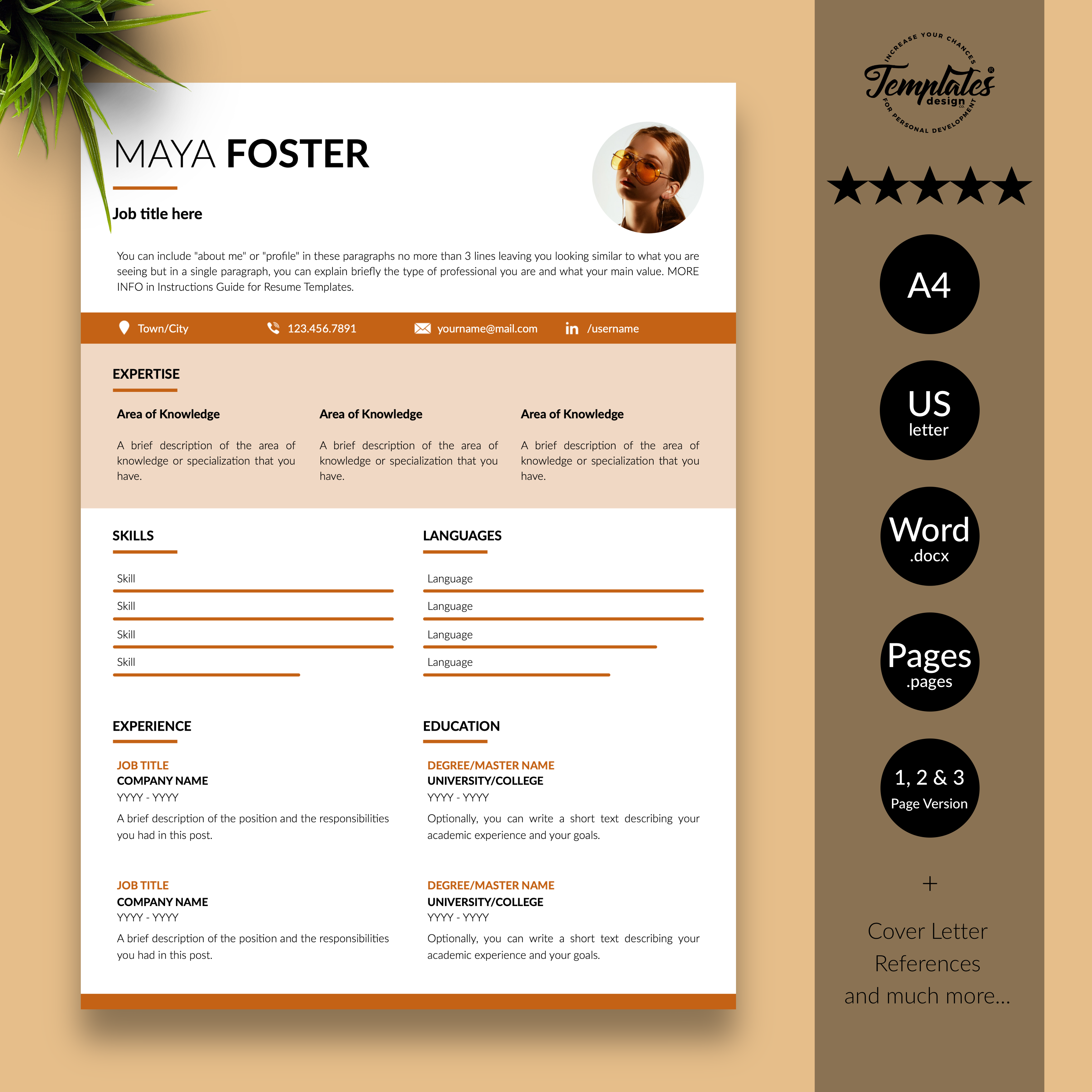 Maya Foster Modern Resume Cv Template For Word Pages Us Letter A4 Files 1 2 3 Page Resume Version Cover Letter References Cover Letter