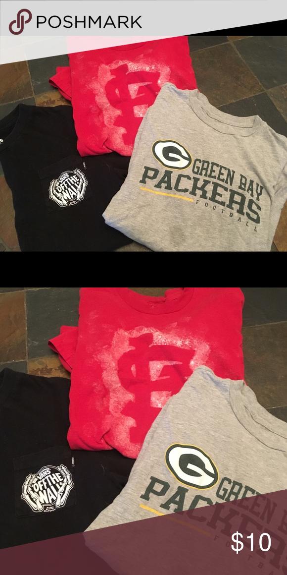 2f8780b4d2f049 3 Piece Boys XL T-shirt Bundle 3 Boys XL or Men s S T-shirt Bundle 1. GB  Packers Boys XL 2. SL Cardinals Men s S 3. Vans Men s S Shirts   Tops Tees  - Short ...