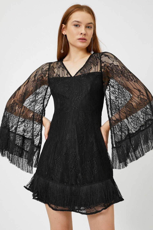 Koton Dantel Detayli Siyah Mini Abiye Elbise Dantel The Dress Ve Elbiseler