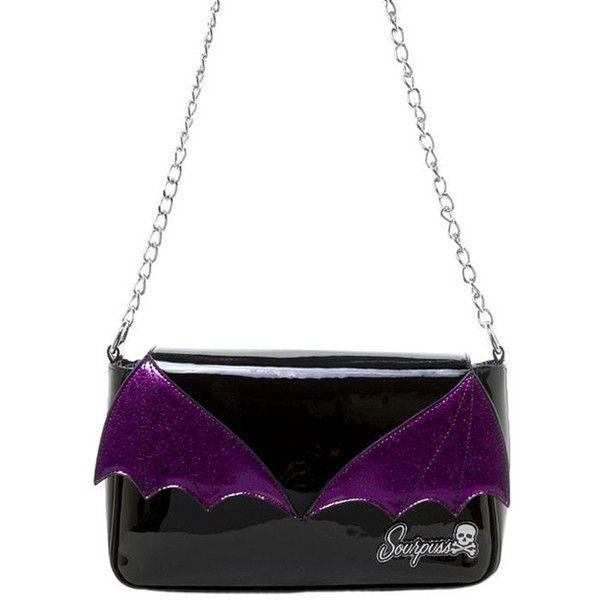 Bat Wing Clutch Black/Purple Handbag by Sourpuss (71 CAD) ❤ liked on Polyvore featuring bags, handbags, clutches, winged purse, hand bags, man bag, chain handle handbags and handbag purse
