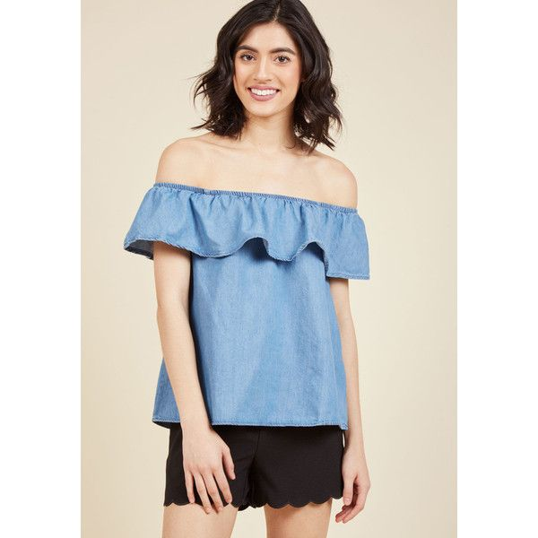 SoCal Sweetheart Ruffle Top (60 AUD) ❤ liked on Polyvore featuring tops, blouses, apparel, varies, woven top, off the shoulder ruffle top, ruffle top, flounce tops, blue top and off the shoulder blouse