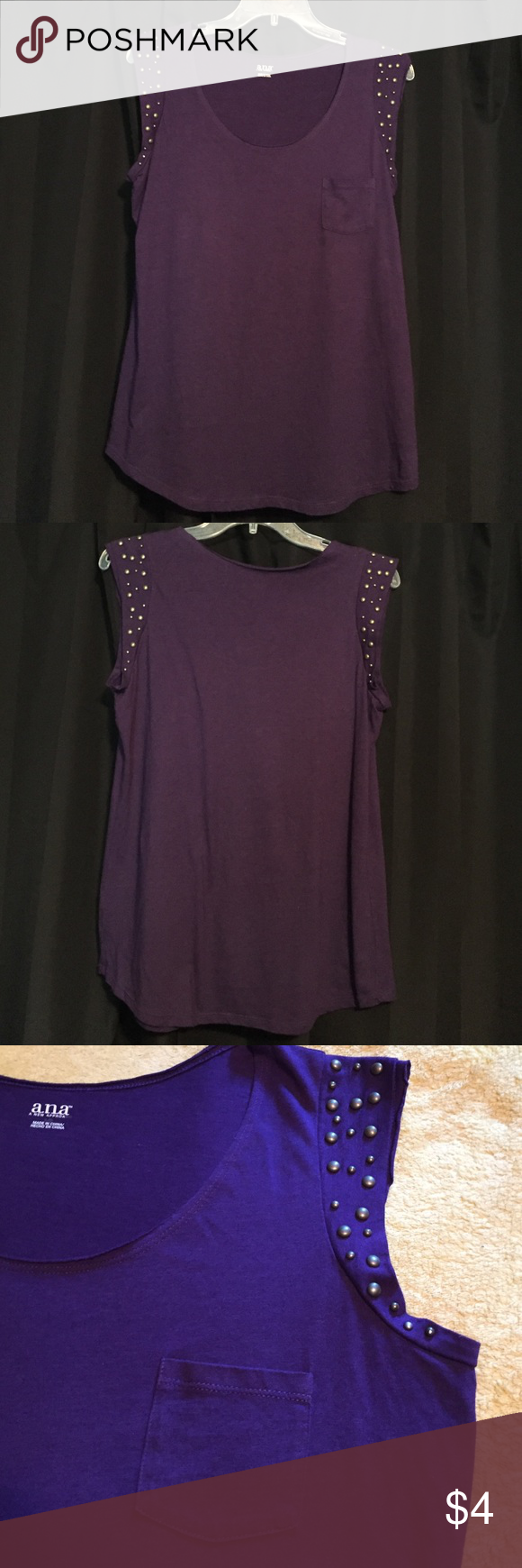 Purple top Purple sleeveless top. Armpit to armpit 19 inches. Center back to him 25 inches. 60% cotton 40% polyester. a.n.a Tops