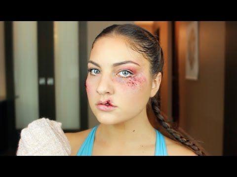 Boxer Makeup With Bruising Stitches Split Lip Sfx Halloween