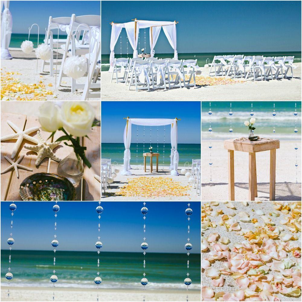 4 Post Bamboo Arbor. Crystal Draping. White Organza. White Kissing Ball Aisle. Sun and Sea Beach Weddings.
