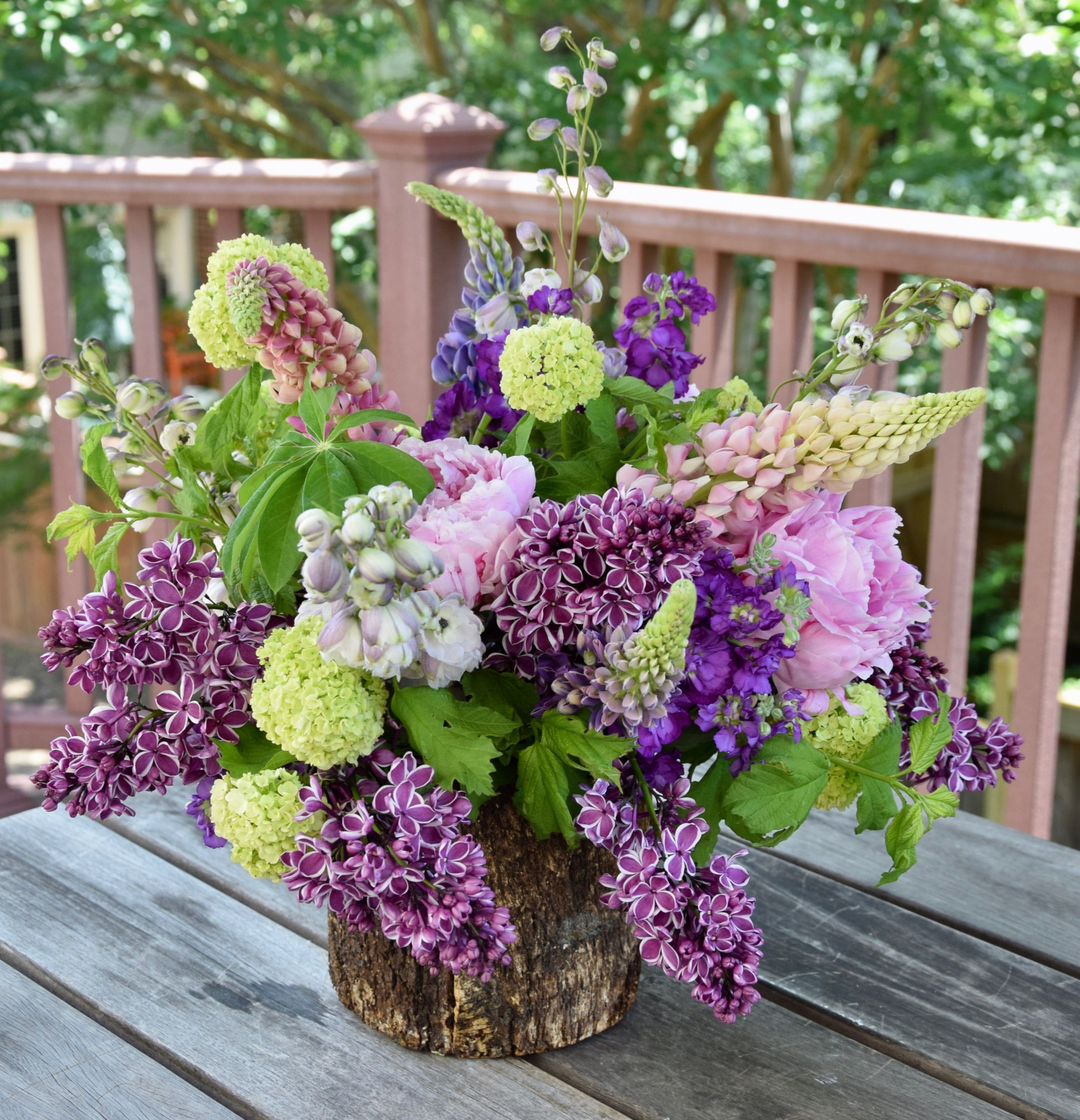 Large Flower Arrangement With Green Viburnum Lupine Lilac Delphinium Stock And Pe Large Flower Arrangements Fresh Flowers Arrangements Flower Arrangements
