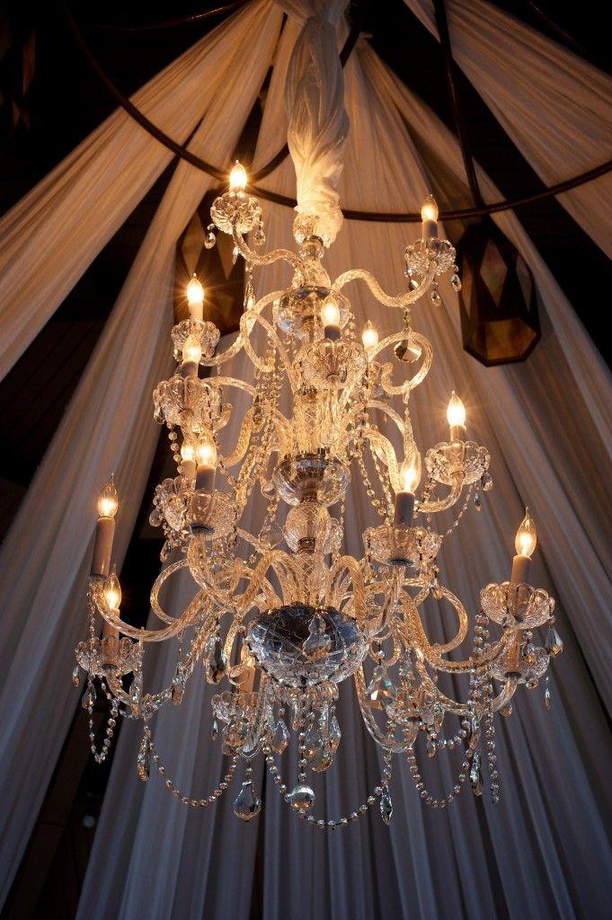 chandelier in tent