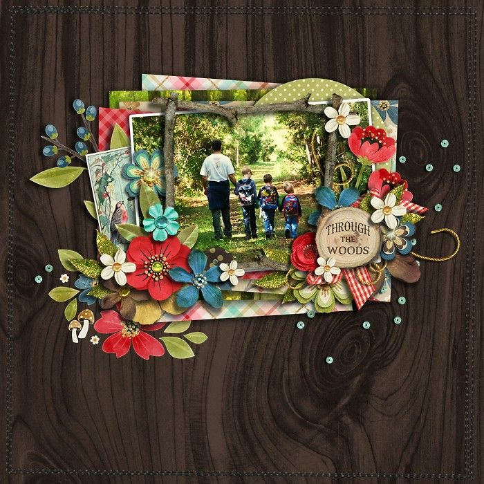 digital scrapbook layout using Little Red by Studio Flergs | Little Red: FLOWERS by Studio Flergs | Sew Many Edges by Erica Zane