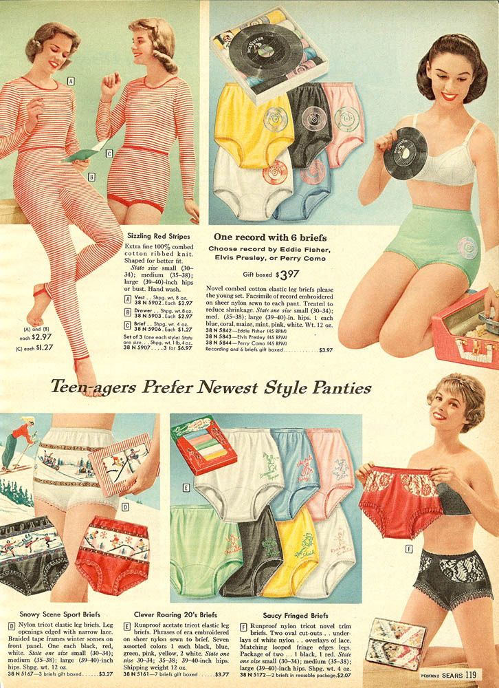 b461178ea22 1958 Sears Christmas book. Undies with records on them!! I ve heard of sock  hops but what do you call these