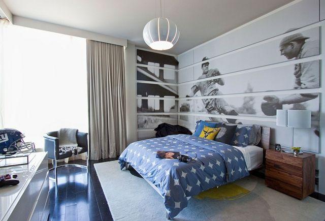 Jugendzimmer Modern Sport Thema Blaue Bettdecke Bodenbelag