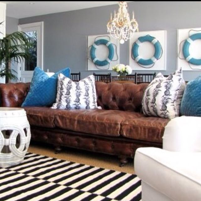 I was wondering if I could use my leather sofa to decorate with beach ideas...YES!