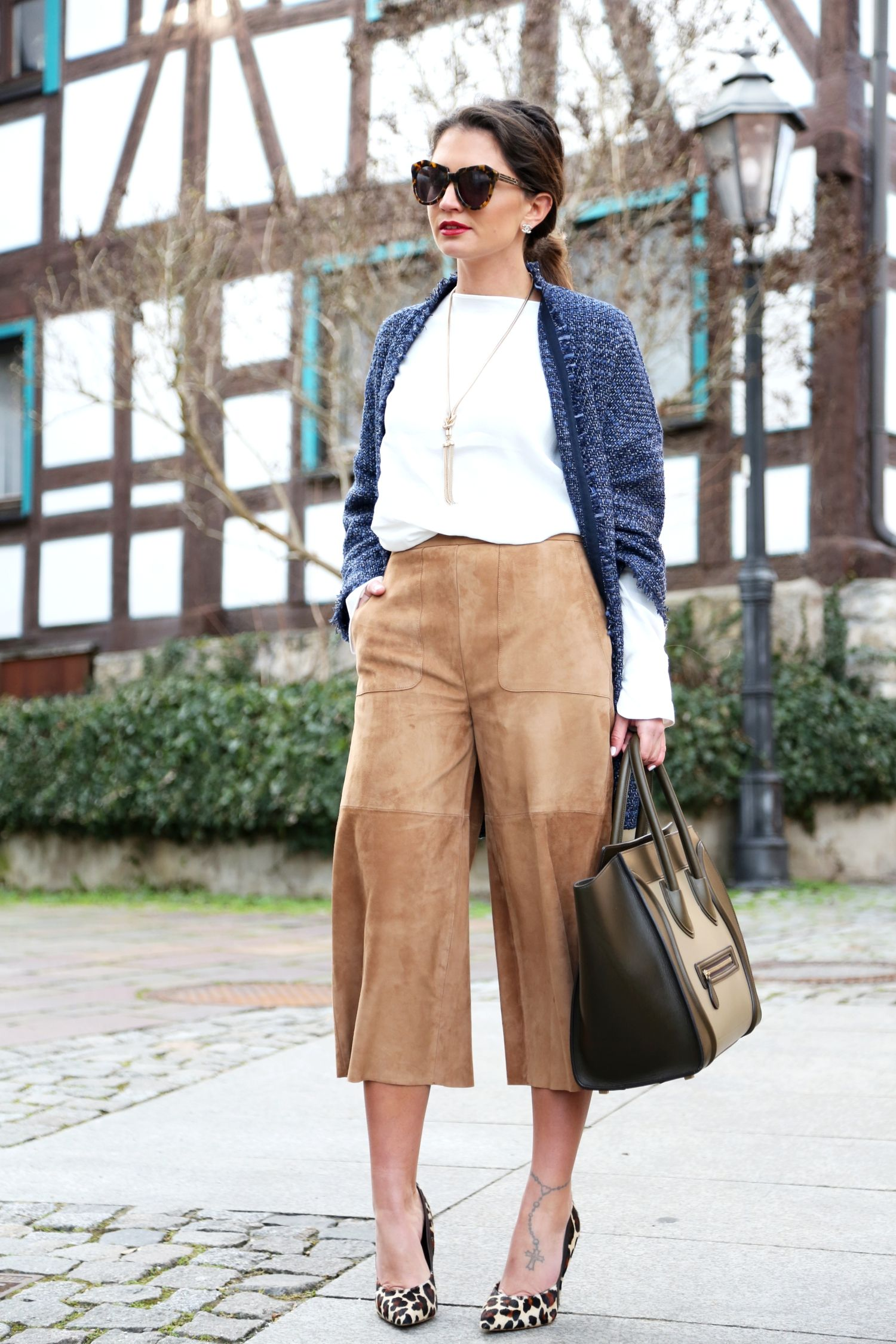 leather culotte | leather, karen walker and fall fashion
