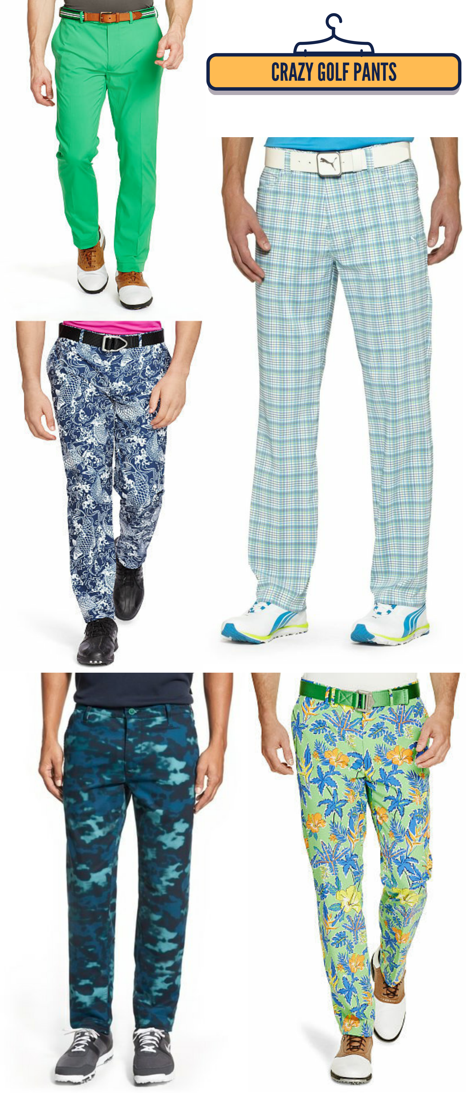 Crazy golf pants, wild colored golf clothes, colorful golf ...